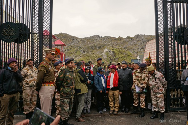 Standing upon the no man's land of the friendly border pass Nathu La