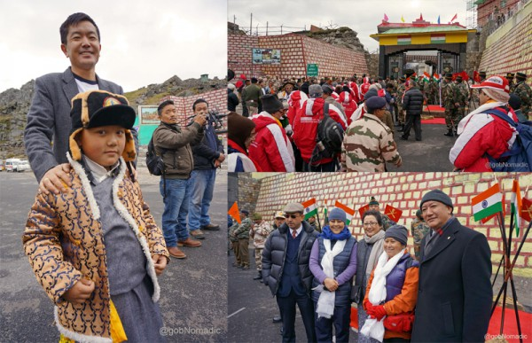 Clockwise from left: A young well-wisher who came to see us off; Lining up to cross the border; Sikkimese travellers occupied the centre-space throughout the Journey
