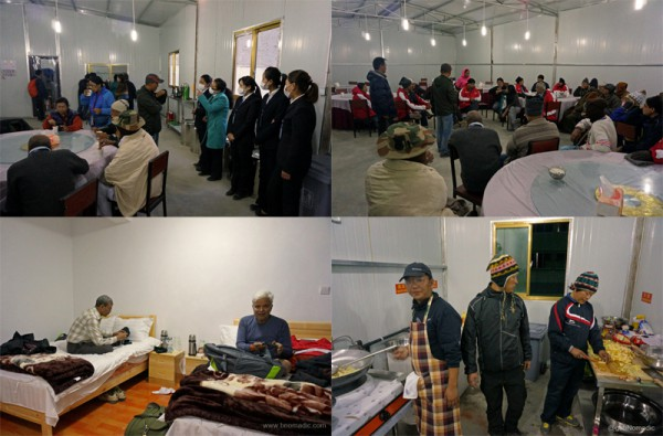Clockwise from top left: The support staff at the residential complex; Evening briefing in progress; the accomplished mountaineers-turned-cooks inside the kitchen; at the room, Sh Noratmal a survivor from 2013 Kedarnath tragedy and Sh BK Chaturvedi from Delhi occupied with their phones