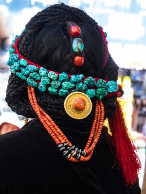 Headgear of a Tibetan lady; Lhatse region