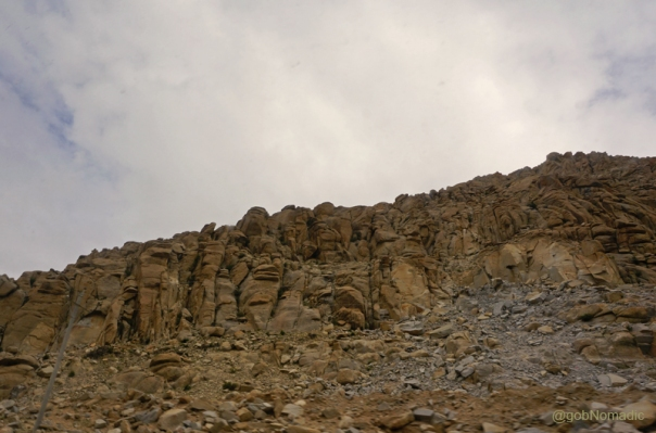 Intriguing rock formations on a mountainface