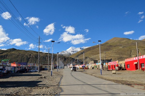 The summit of Kailash as observed from Darchen street; the weather had opened up after we were back