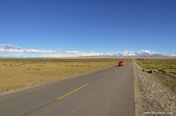 The road through Barkha appears leading to the base of Gurla Mandhata above Rakshas Tal