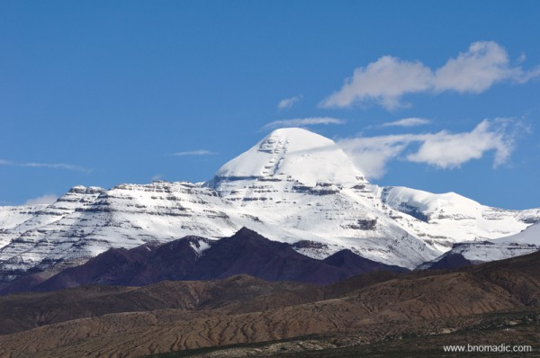 The Kailash. The distances, in this clarified air, are greater than they seem. I make for a nearby headland, and two hours later I am still walking towards it. Objects look closer, but smaller, than they are. And solitary sounds – a faint cheeping and piping – only accentuate the silence.