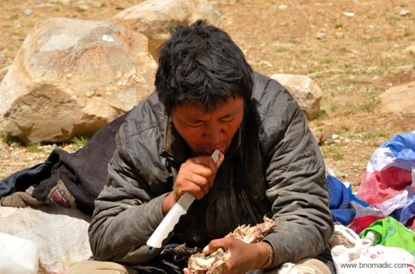 A Tibetan feasting on a dried meat at the end of the Kora