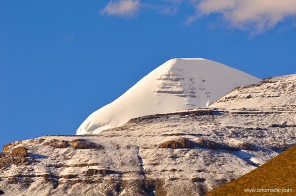 A closeup of the south face of the Kailash from Darchen street square
