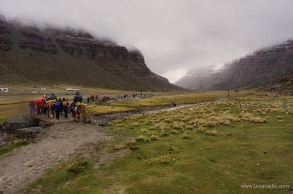 The trek begins in a bad weather