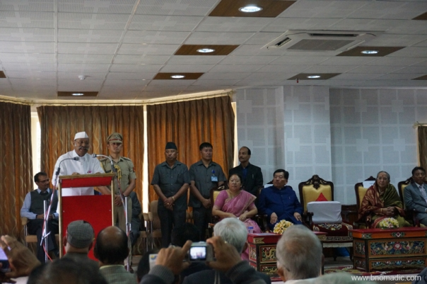 The Governor of Sikkim, Sh Shriniwas Patil addressing the gathering at Raj Bhawan