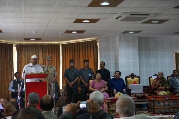 The Governor of Sikkim, Sh Shriniwas Patil addressing the gathering at Raj Bhawan