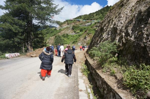 Negotiating a landslide just before Nathula