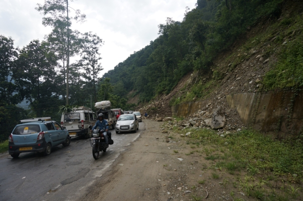 Traffic Jams because of landslides triggered by incessant rains