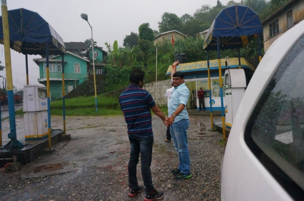 A little before Siligudi; at a fuel station