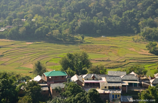 Terraced fields and the village from the Masroor ridge