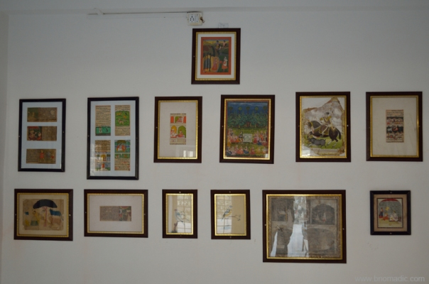 Paintings and cuttings at display inside the Royal Museum