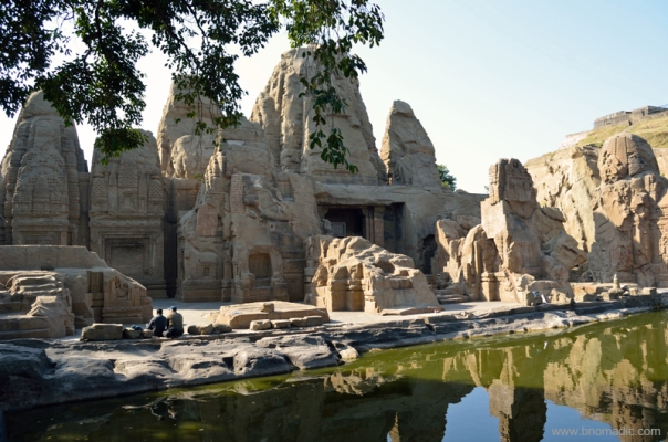 The rock-cut Masroor temples and lake