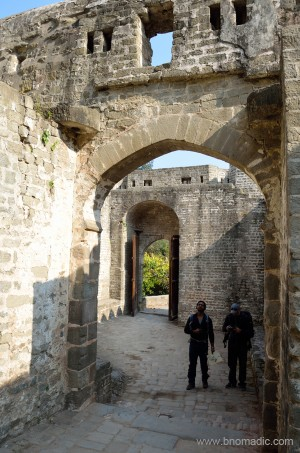 Aman and Sarabjit studying the details of the gate and fortification wall