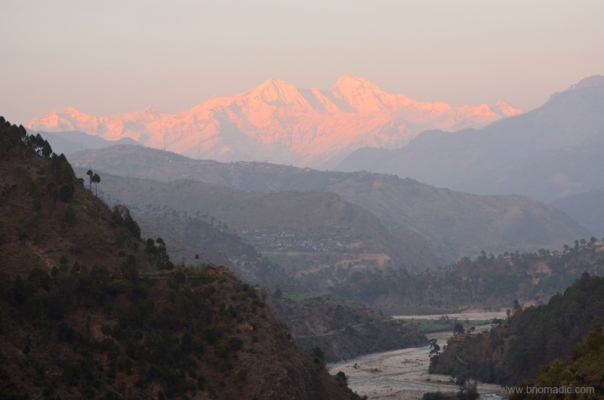 The Yamuna Valley against the backdrop of the Bandarpoonch Massif at sundown