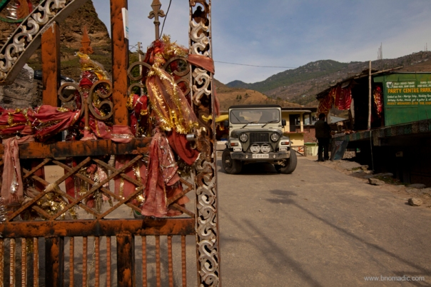 Thar at the gate; the vehicle did quite a descent job up in the mountains